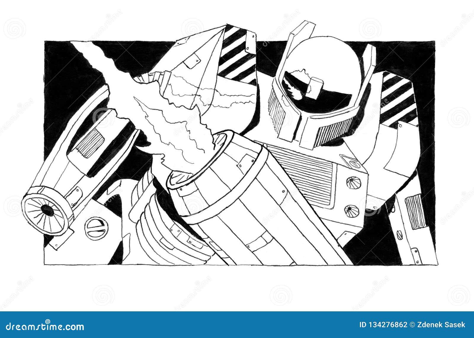 Black Grunge Rough Ink Sketch of Dangerous Armed Robot Soldier