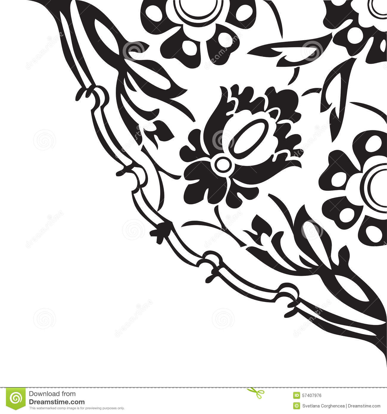 Black Flower Round Up: Black And White Round Floral Border Corner Abstract