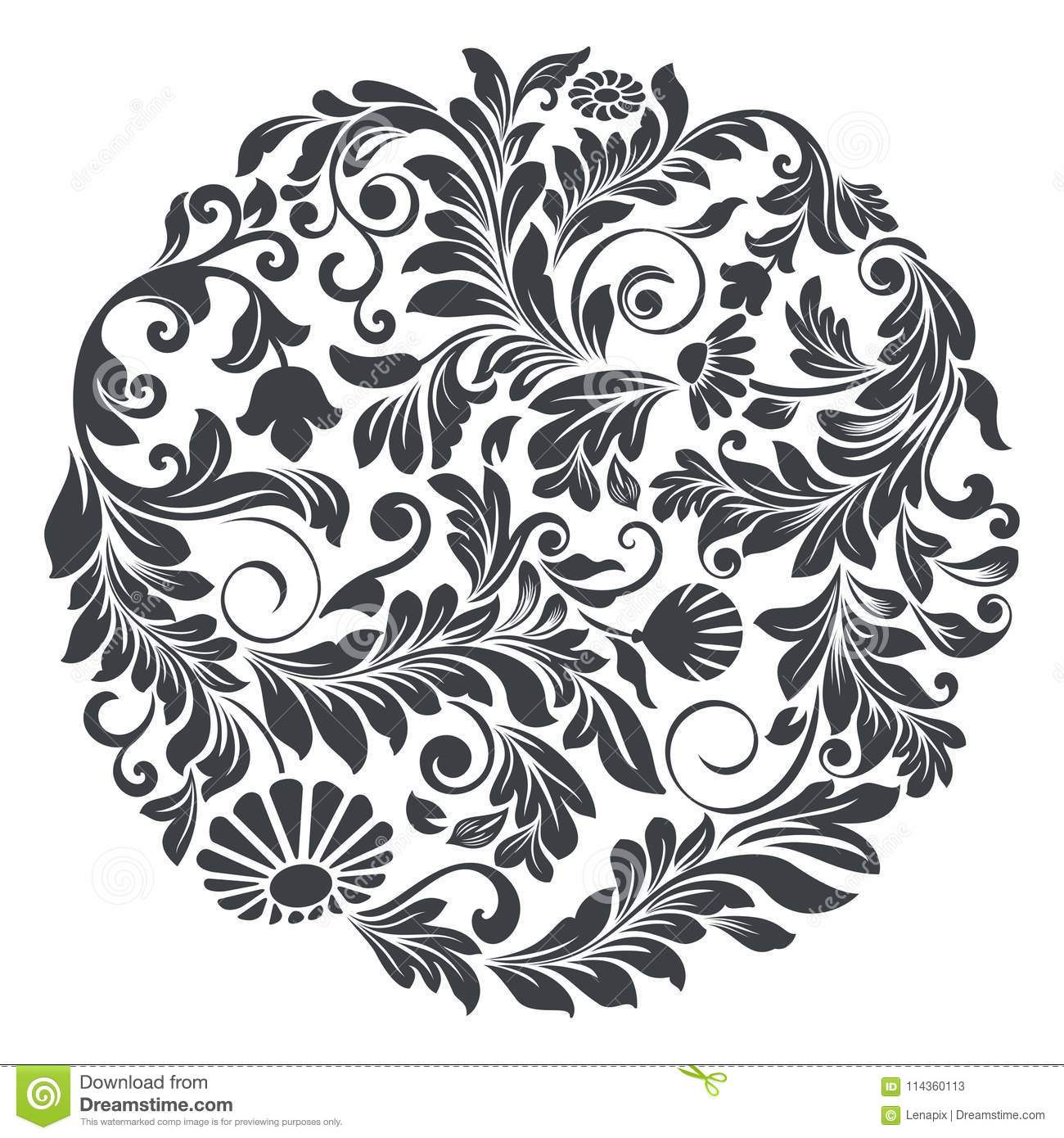 Black Flower Round Up: Black And White Round Floral Element Stock Vector