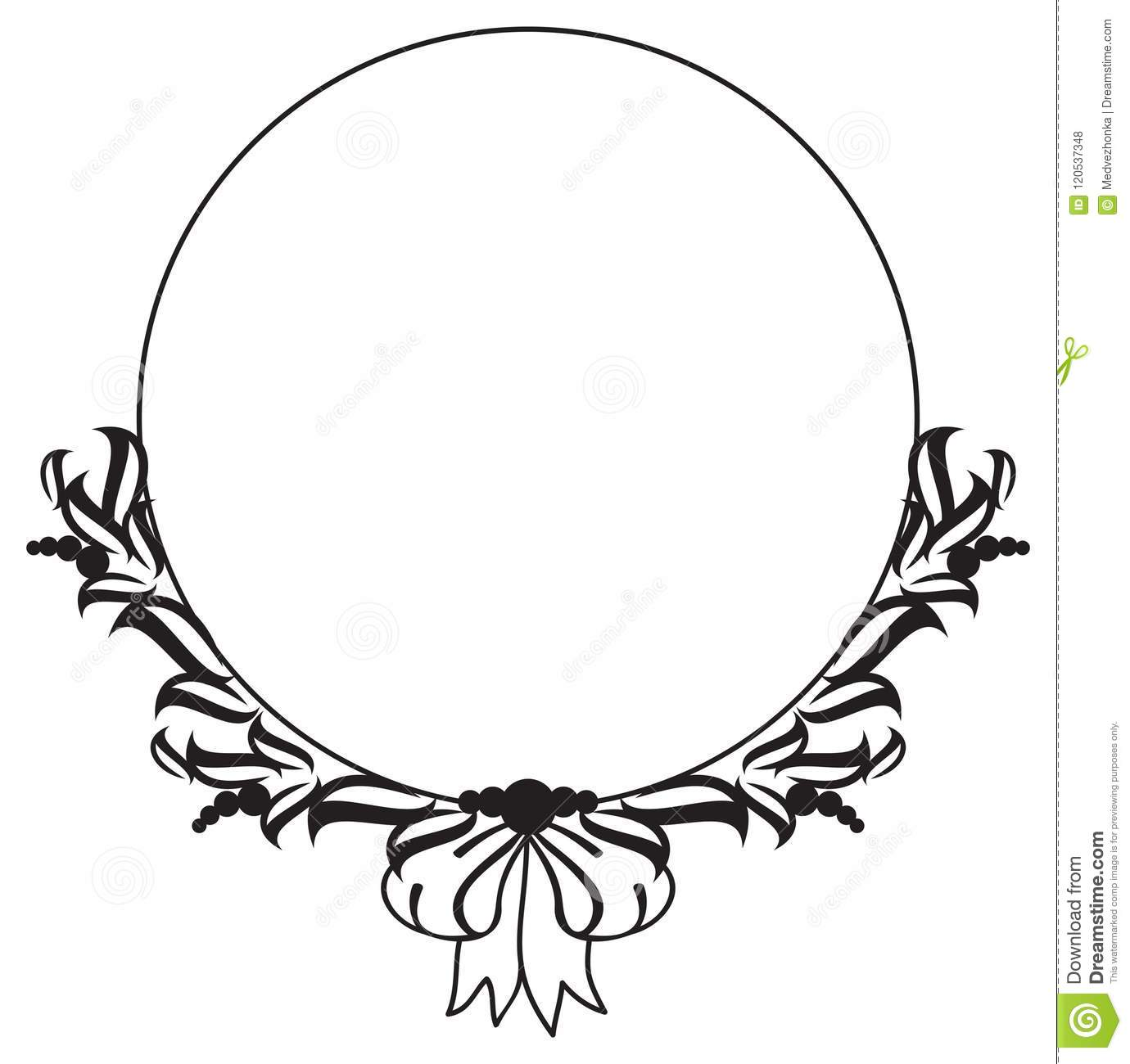 Black Flower Round Up: Black And White Round Frame With Abstract Flower