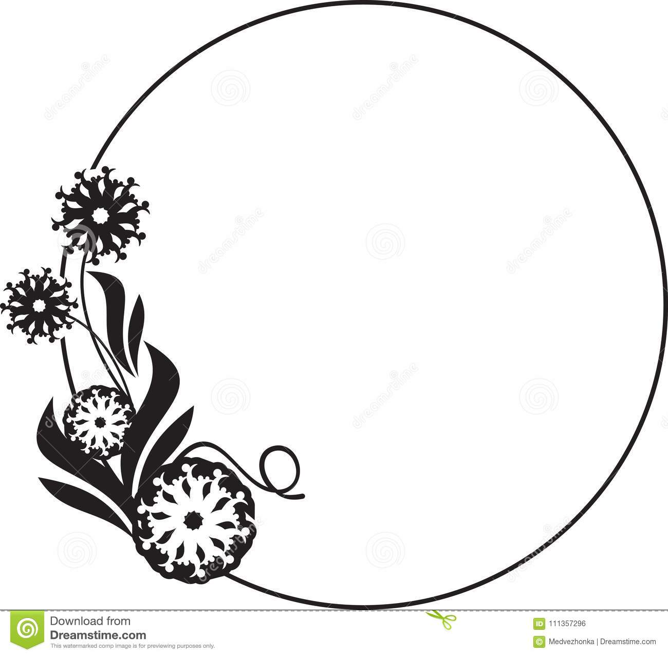 Black And White Round Frame With Floral Silhouettes Stock Vector