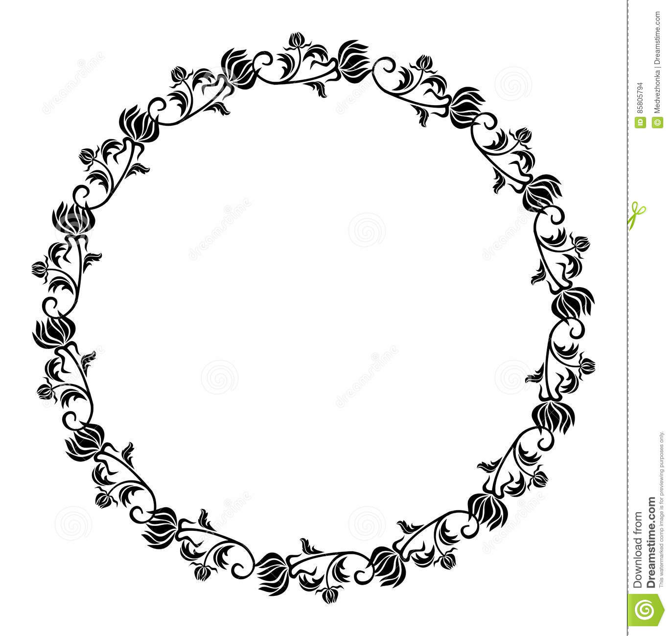Black Flower Round Up: Black And White Round Frame With Flowers Silhouettes
