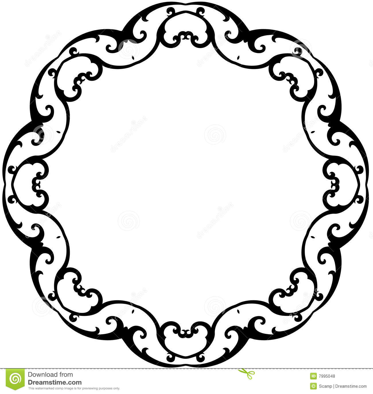 Black Amp White Round Scroll Frame Stock Vector Image 7995048