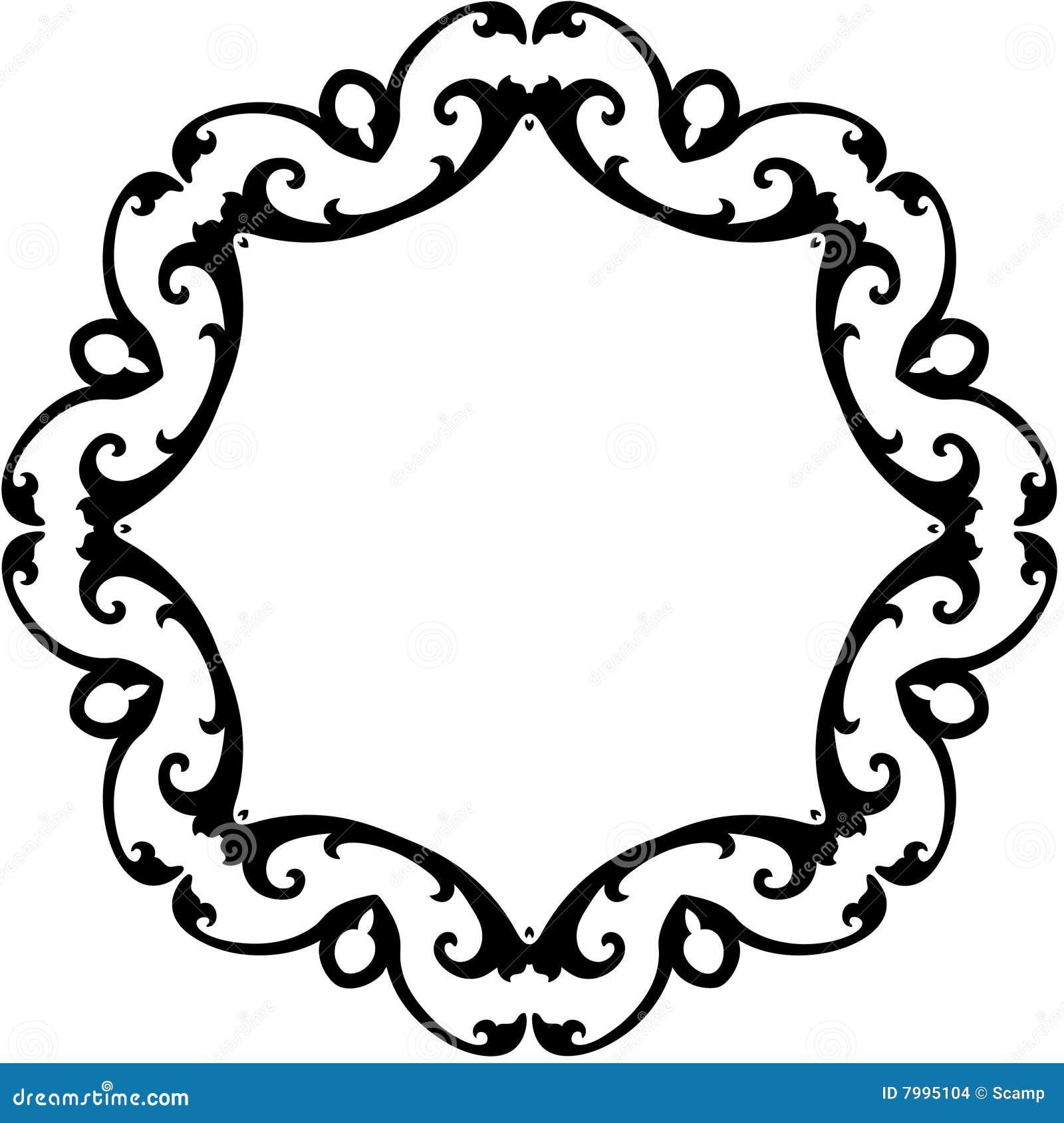 Black & White Round Scroll Frame Stock Vector - Illustration of ...