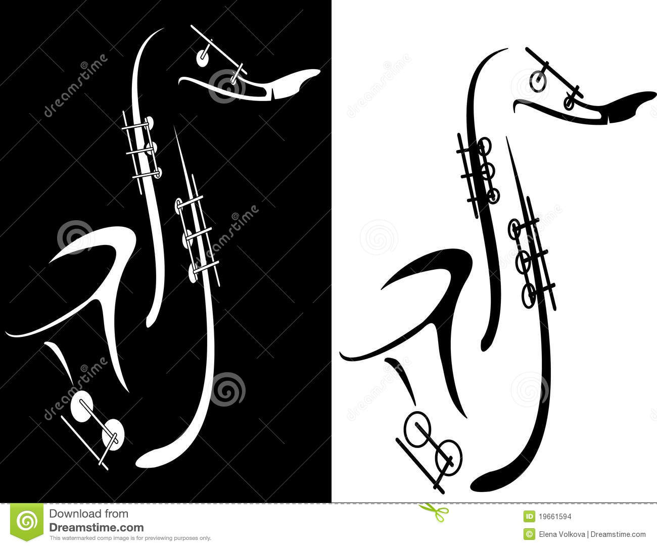 Black And White Saxophone Stock Images - Image: 19661594