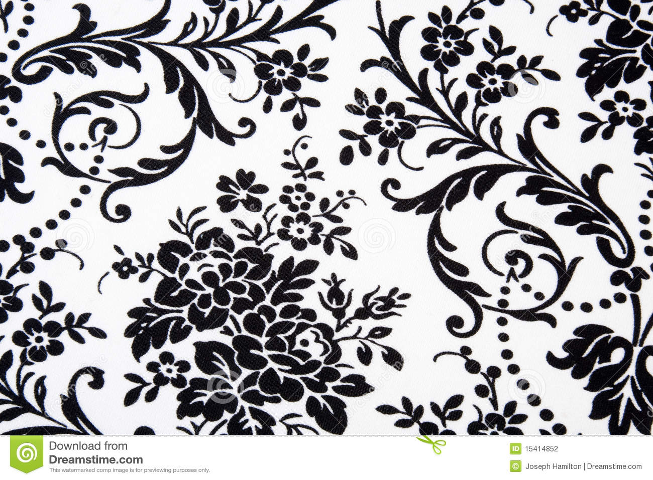 Black White Seamless Floral Pattern Stock Illustration