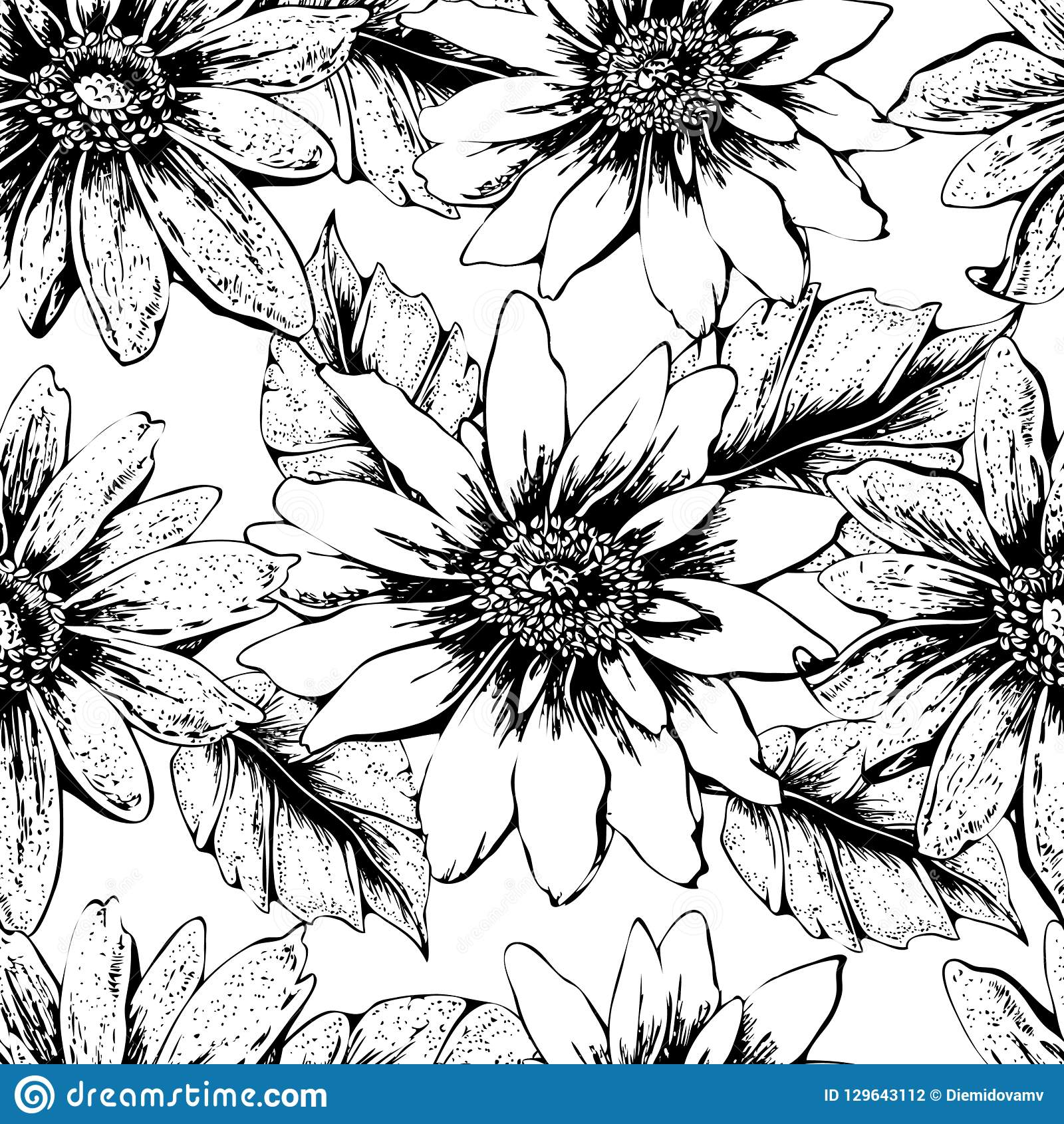 Black And White Seamless Floral Pattern With Cute Yellow