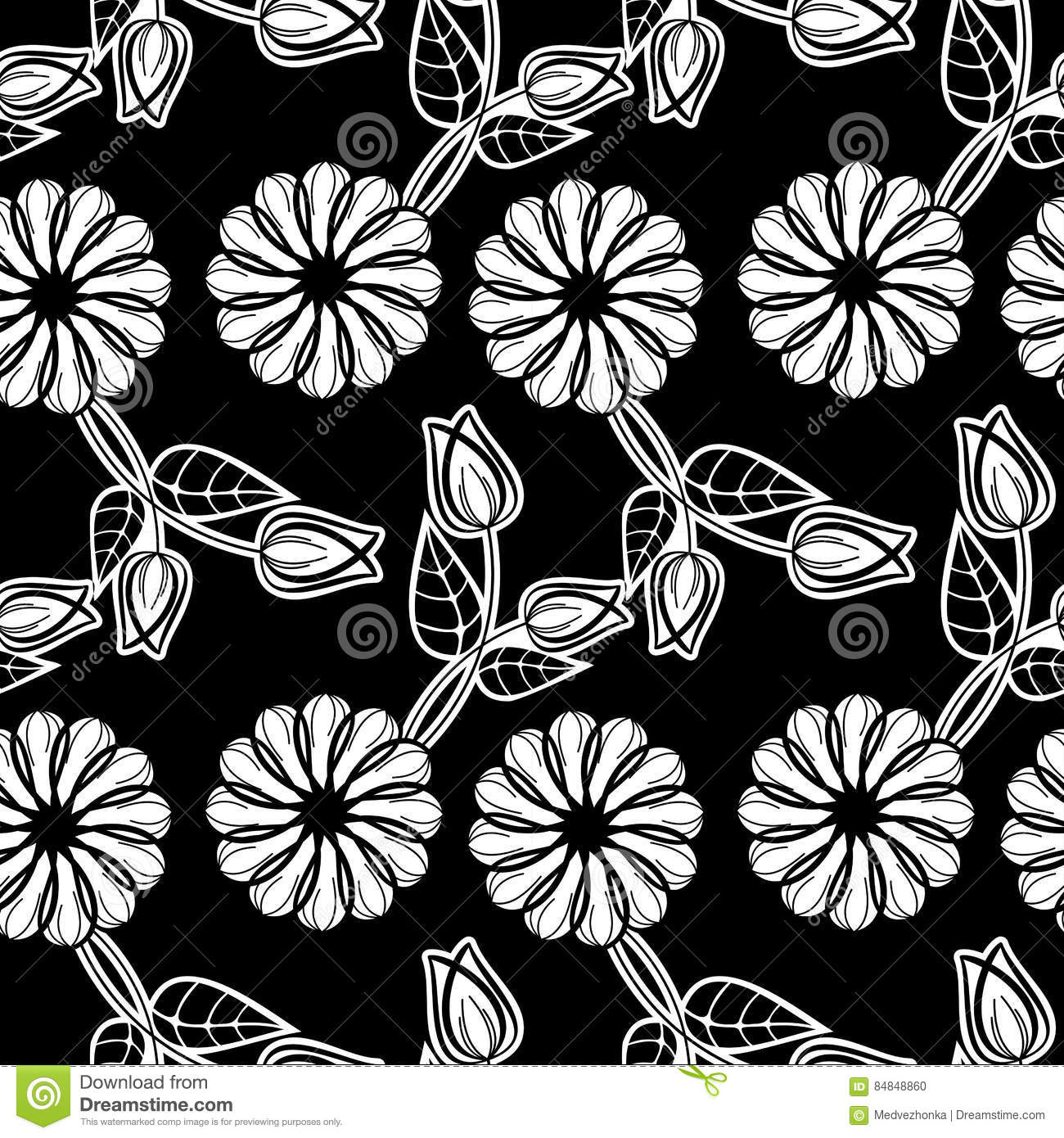 Black Flower Silhouette Pattern Royalty Free Stock Images: Black And White Seamless Floral Pattern. Raster Clip Art
