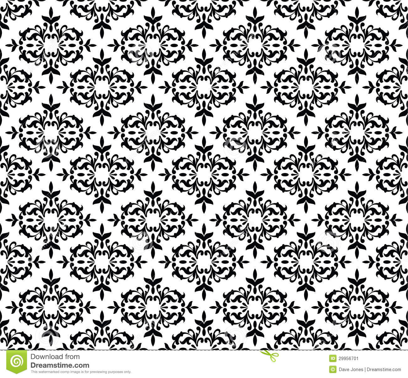 Black And White Seamless Floral Wallpaper Stock Image