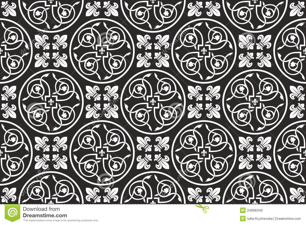 Black-and-white seamless gothic floral pattern with fleur-de-lis    Gothic Floral Pattern