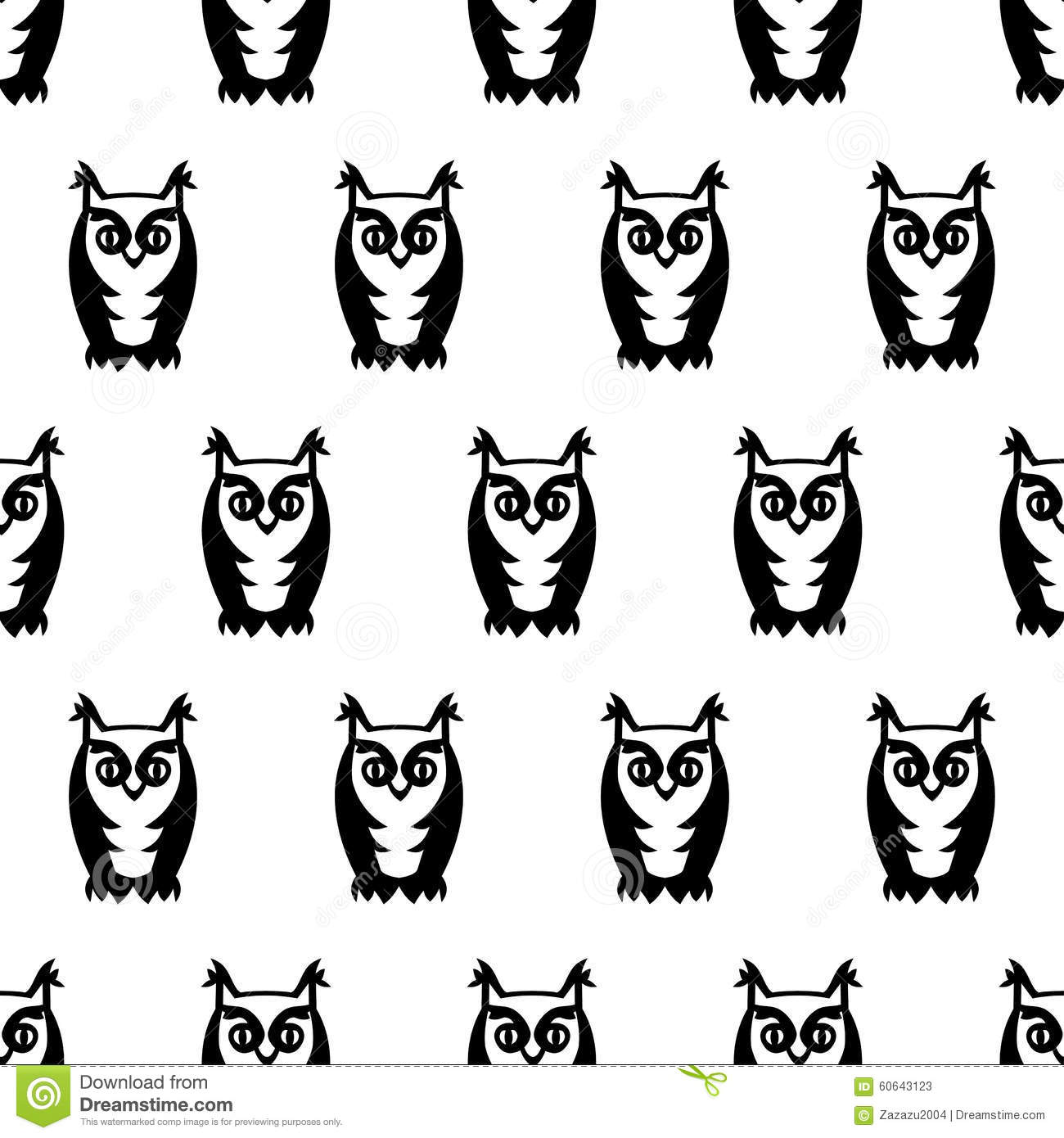 Black And White Seamless Owl Pattern Cute Cartoon Owl Background