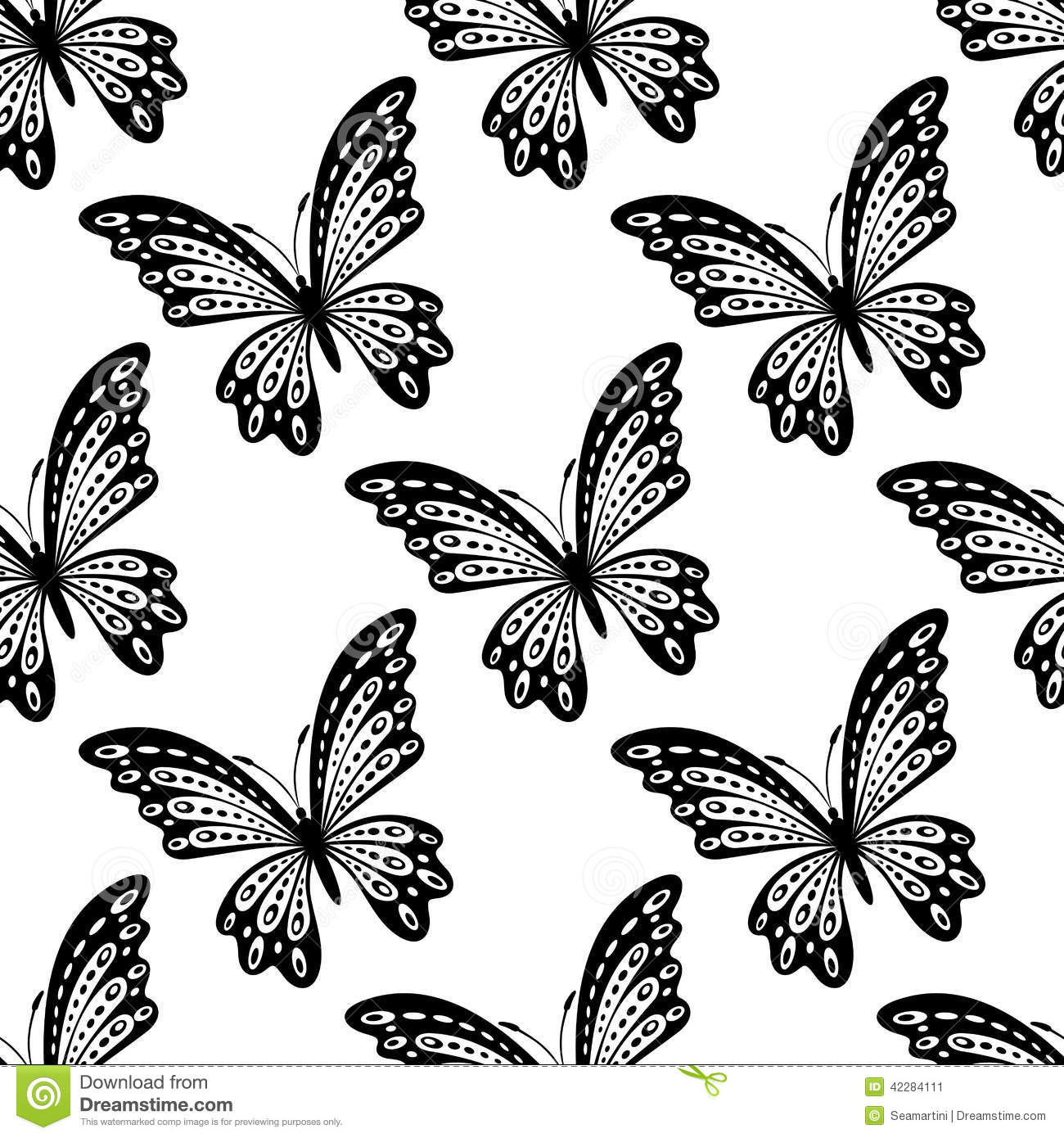 Black And White Seamless Pattern Of Butterflies Stock