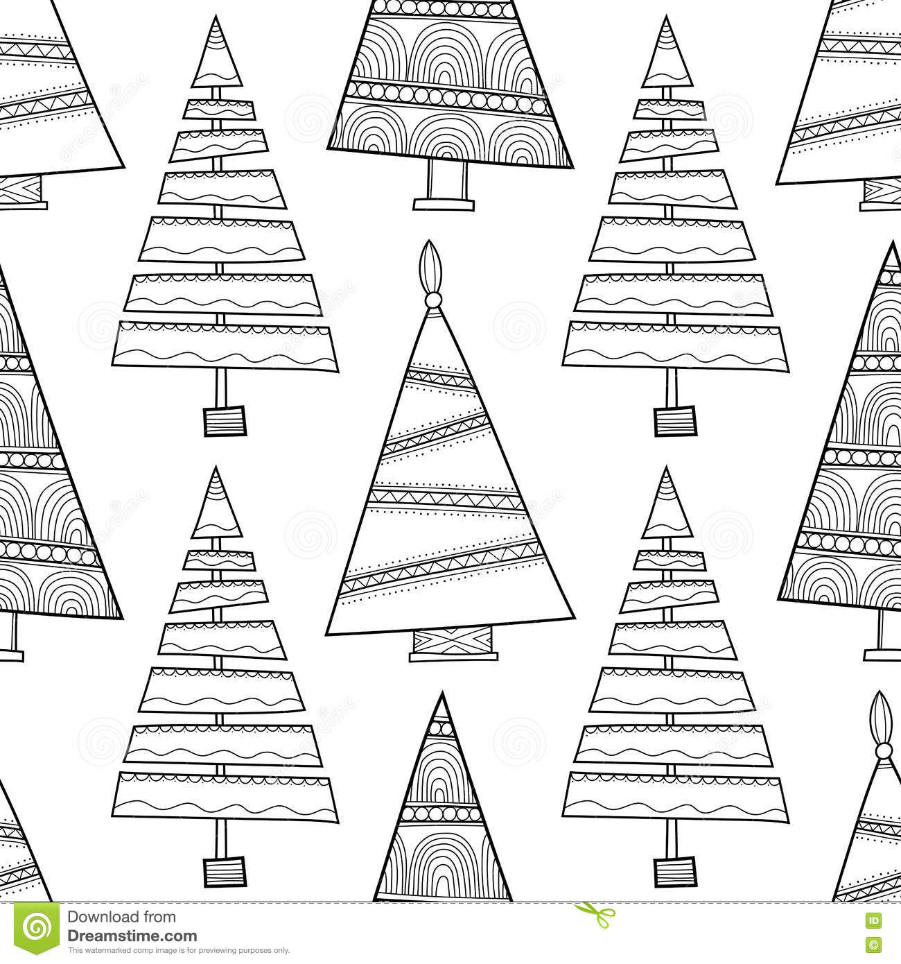 Black And White Seamless Pattern With Christmas Trees For Coloring ...