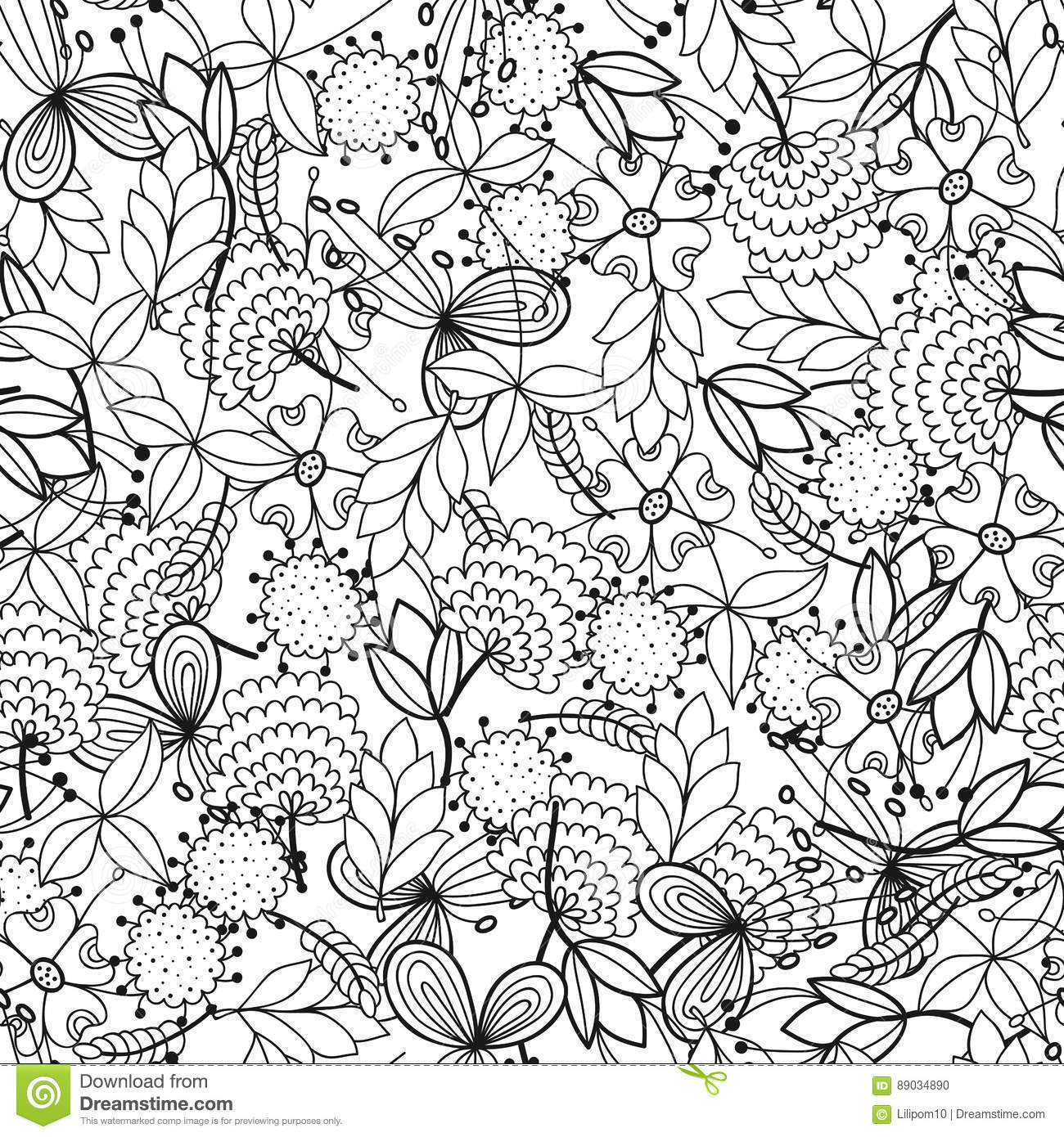 Black And White Seamless Pattern With Flowers, Leaves For ...