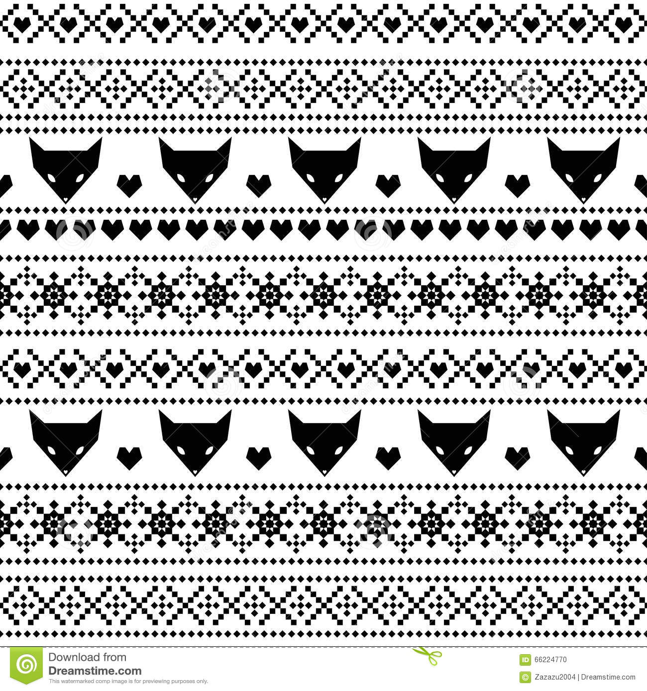 black and white seamless pattern with fox for kids holidays