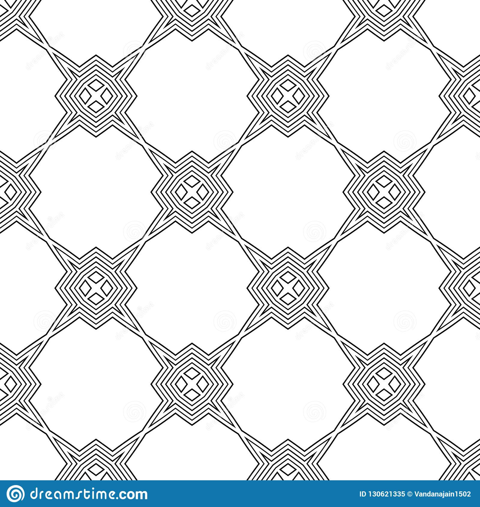 Black and white seamless pattern geometrical lining. Background, squares.
