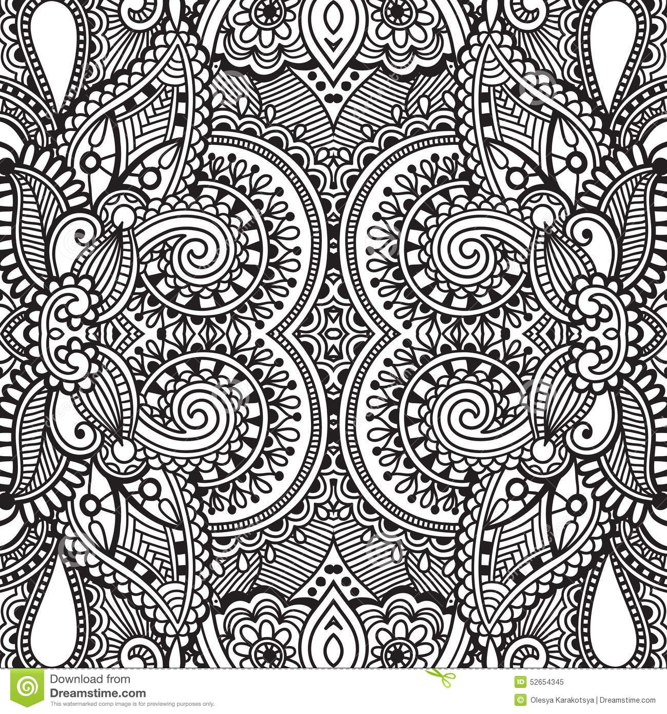 Black and white seamless pattern, hand drawing