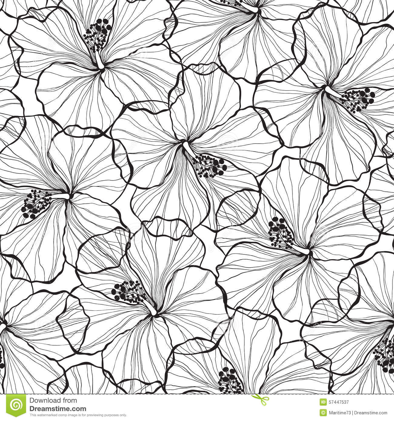 Vector Flower Black White Background Wallpaper: Black And White Seamless Pattern With Hibiscus Flowers