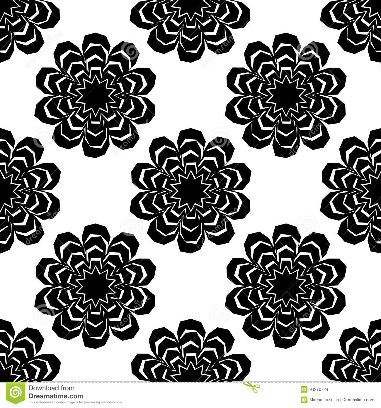 Black And White Seamless Pattern Of Lace Flowers Retro Motif Stock