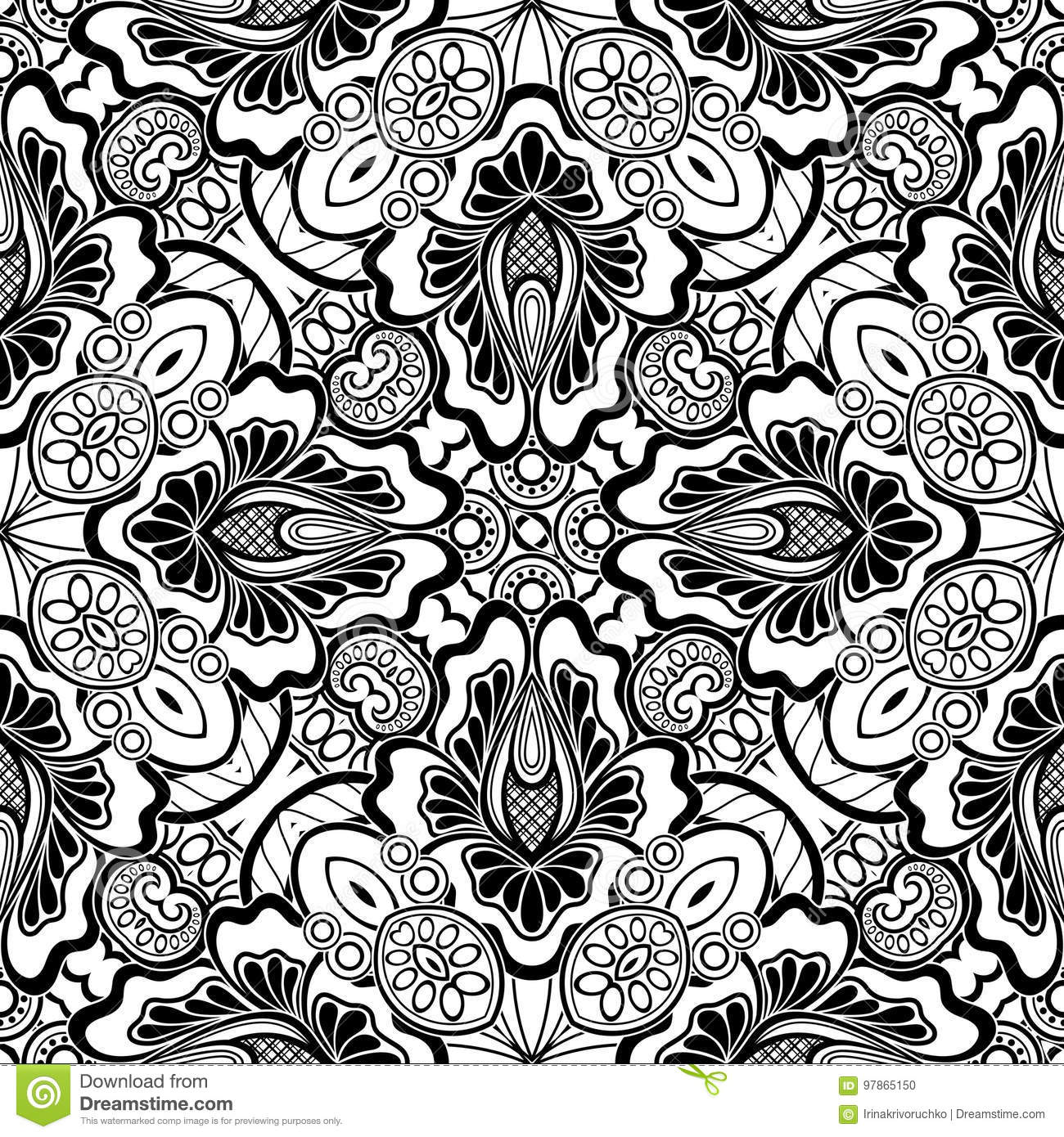 Black and white seamless pattern with mosaic floral motif