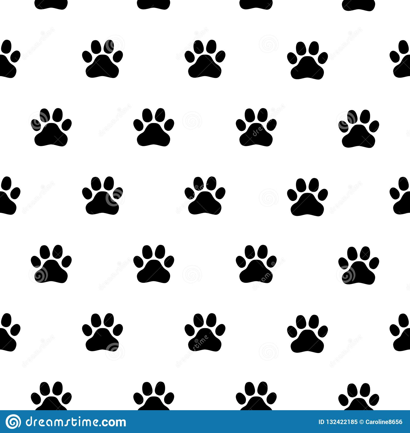 e6ce52eeee3f Black and white seamless pattern with paw prints. Abstract background, animal  footprint, vector illustration