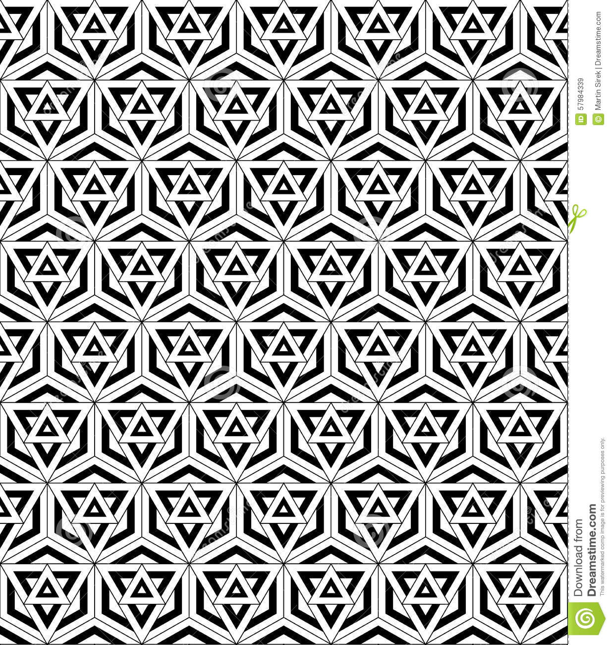 Black White Seamless Pattern Sacred Geometry