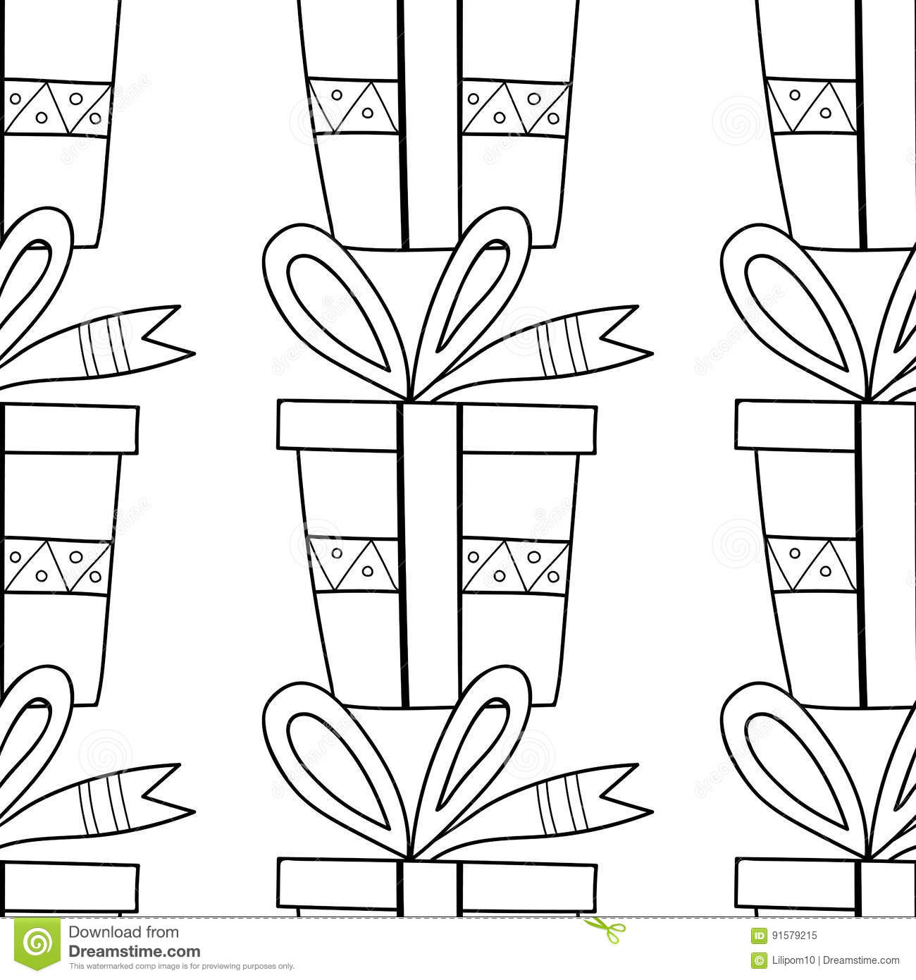 Black And White Seamless Patterns With Gift Boxes For Coloring Book ...