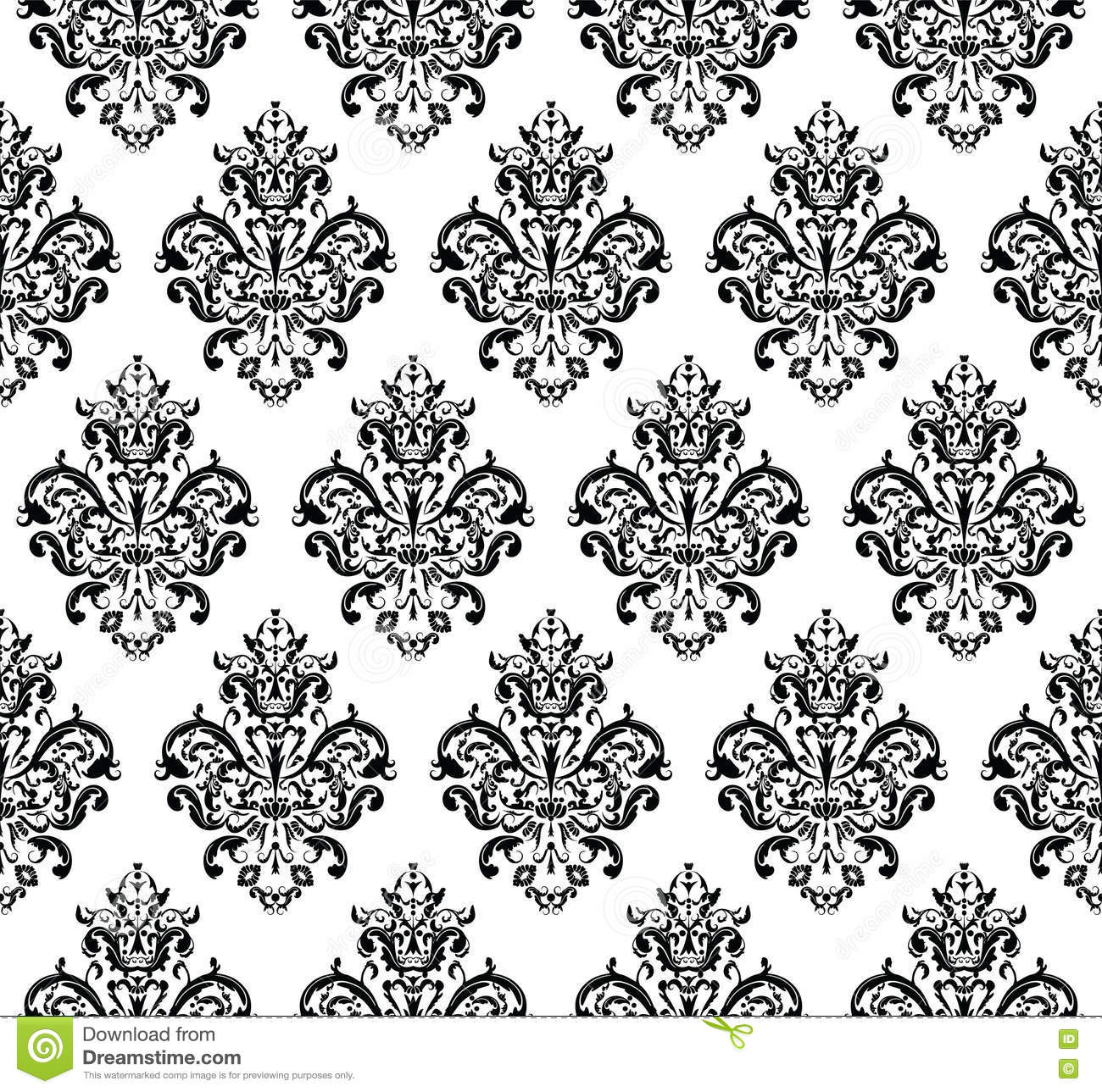 Seamless Vector Wallpaper In The Style Of Baroque Vector ...