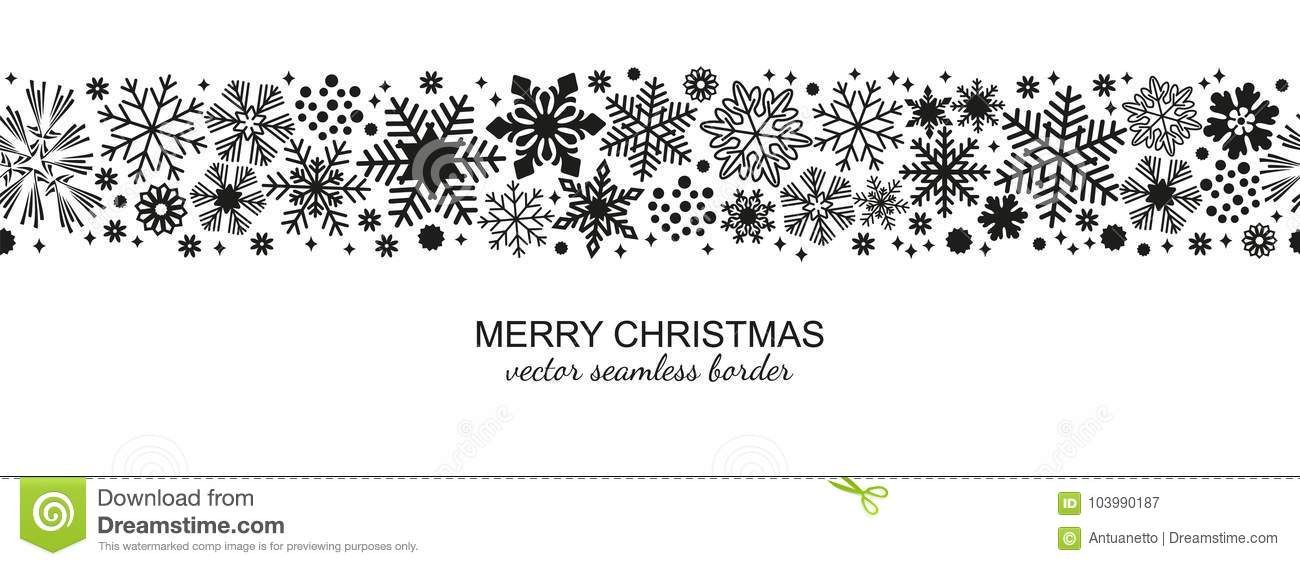 Christmas Border Black And White.Black And White Seamless Snowflake Border Xmas Stock Vector