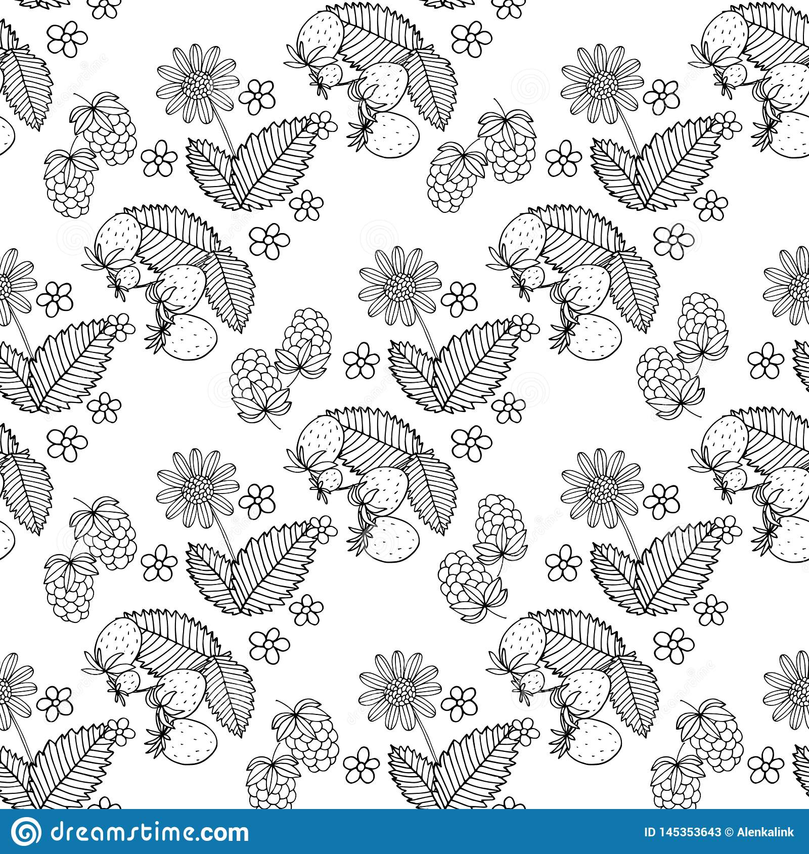 Black and white seamless strawberry pattern. Vector illustration in retro style. Design of packaging for berries
