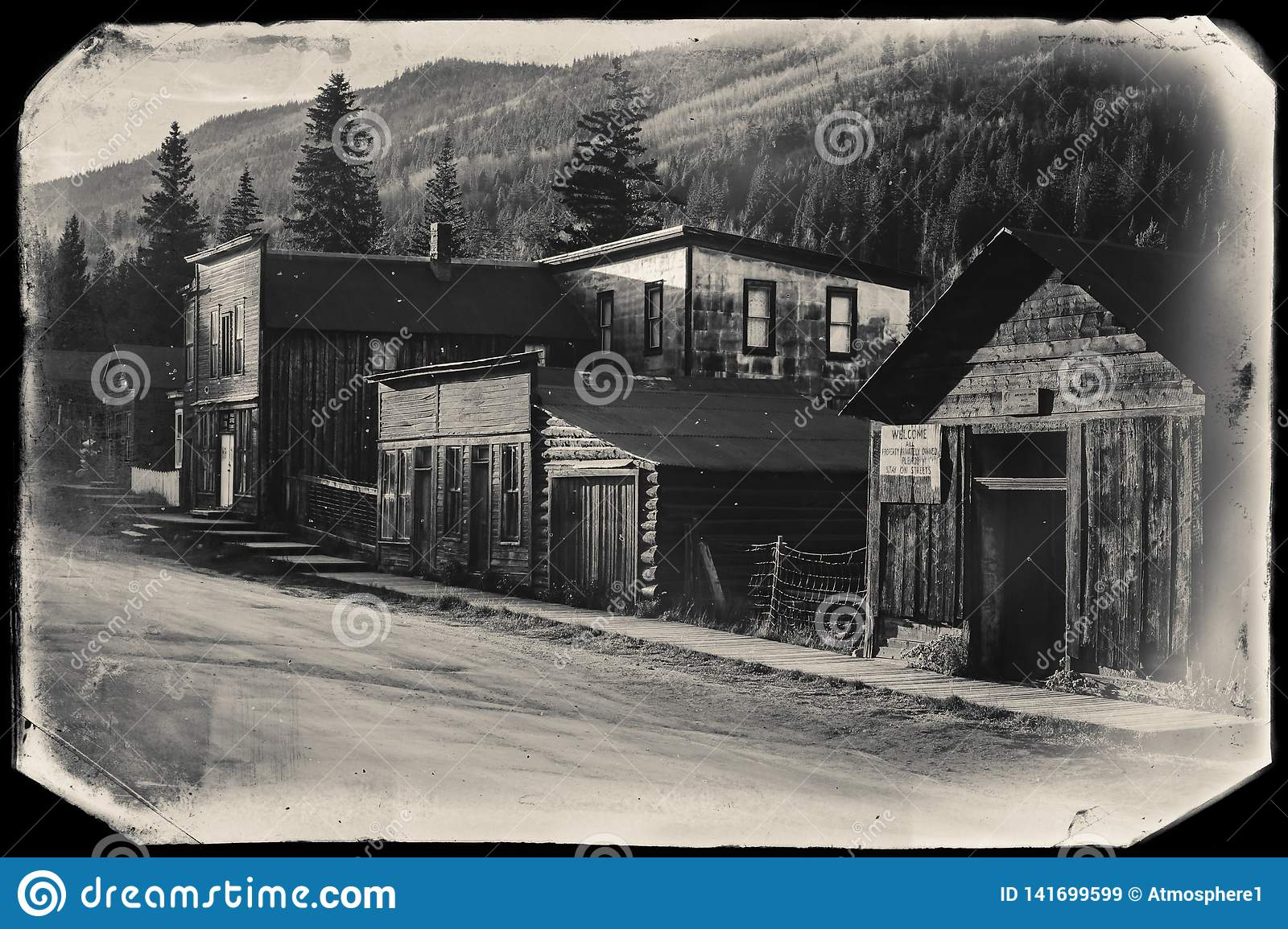 Black and White Sepia Vintage Photo of Old Western Wooden Buildings in St. Elmo Gold Mine Ghost Town in Colorado