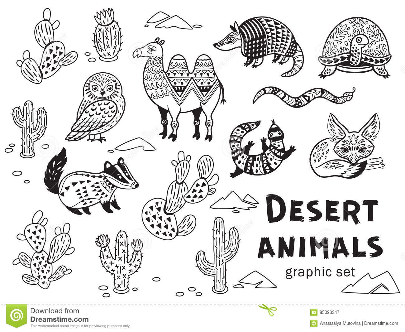 black and white set of desert animals stock vector illustration of illustration reptile 85093347. Black Bedroom Furniture Sets. Home Design Ideas