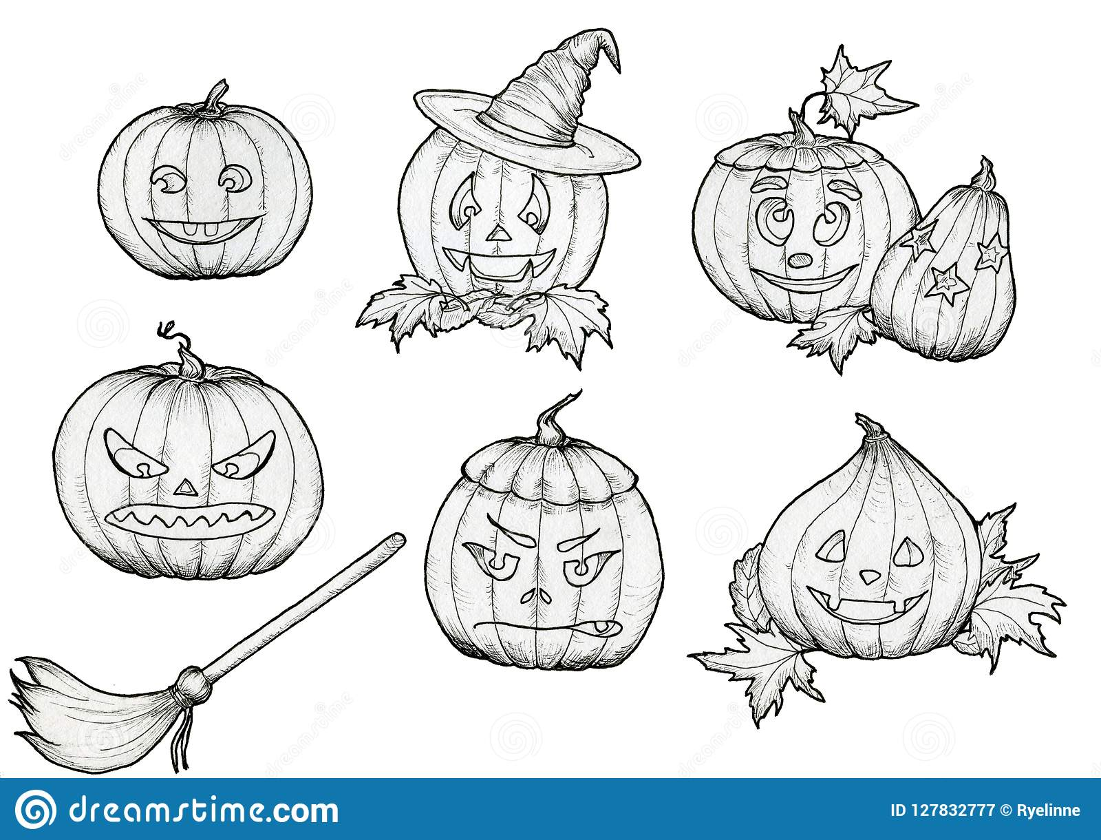 Halloween Pumpkin Drawing Picture.Drawing Halloween Pumpkins With Hat Broom Smiles And Scary Faces