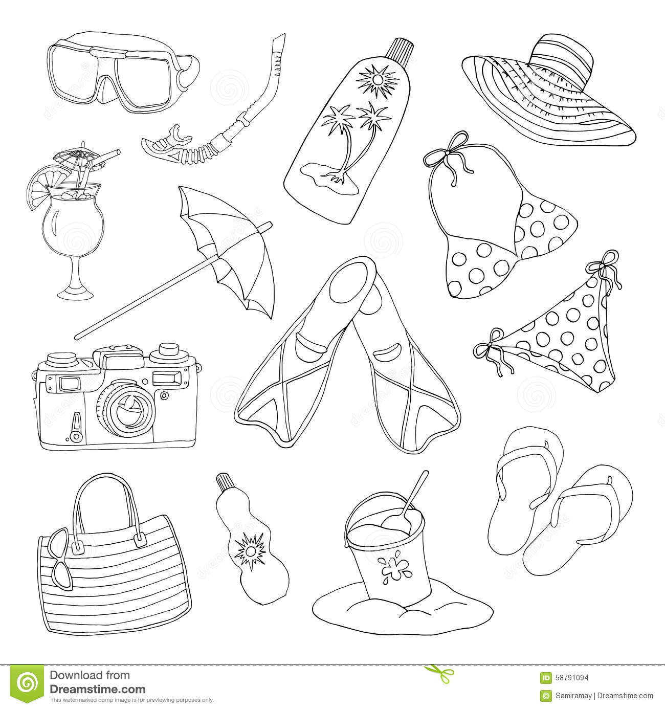 Black And White Set With Objects For Beach Holidays Theme Stock