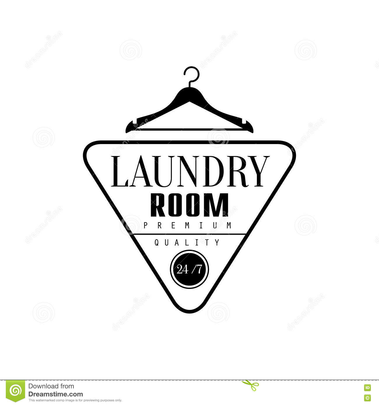 Clothes Wash Signs: Black And White Sign For The Laundry And Dry Cleaning