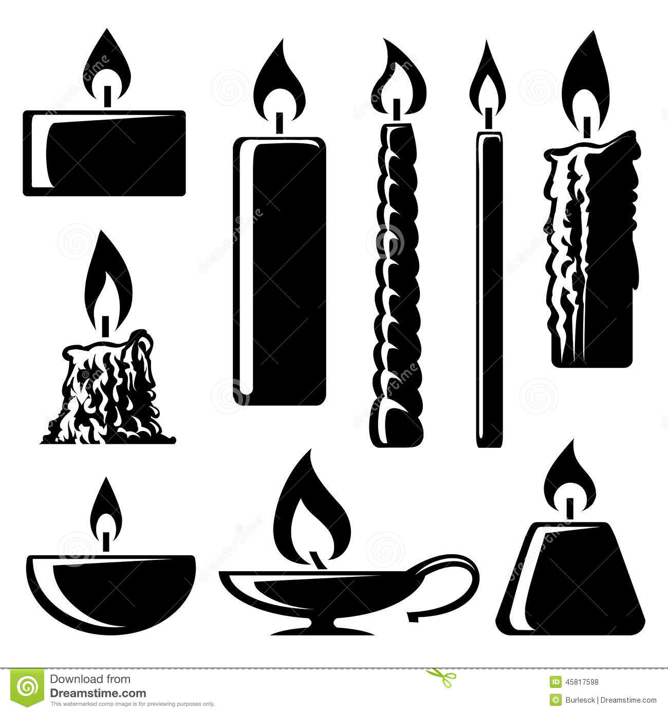 Black And White Silhouette Burning Candles Stock Vector