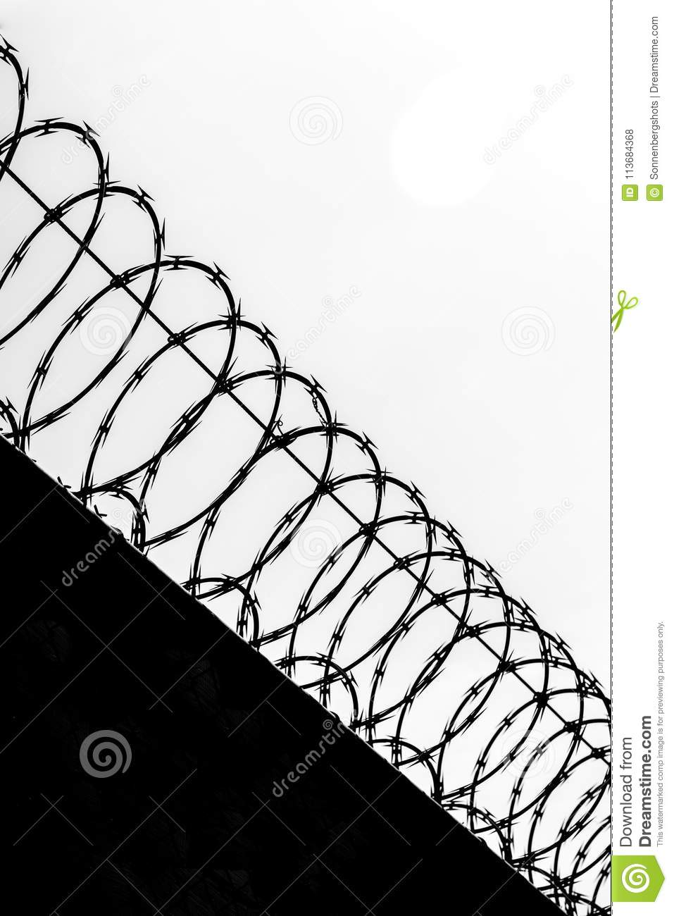 Black And White Silhoutte Of Razor Wire Fence Stock Photo - Image of ...