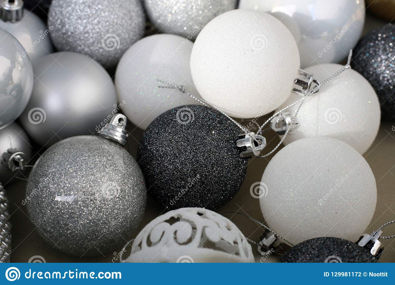 Black, White, Silver And Gray Colored Christmas Ornaments ...