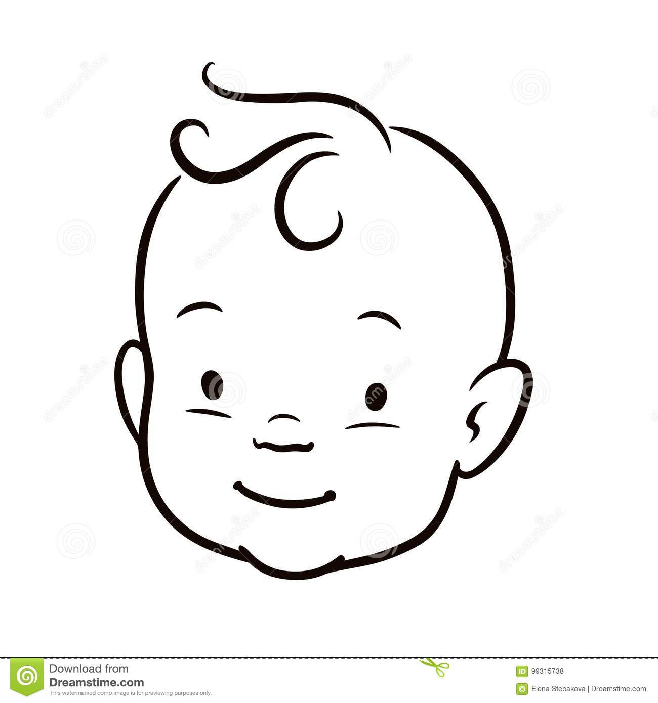 Line Drawing Baby Face : Black and white simple line vector cartoon illustration of