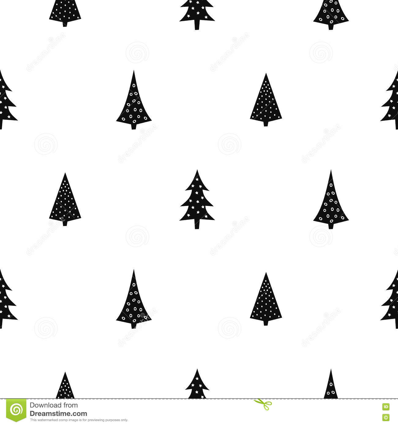 Black And White Simple Seamless Christmas Pattern Stock Vector