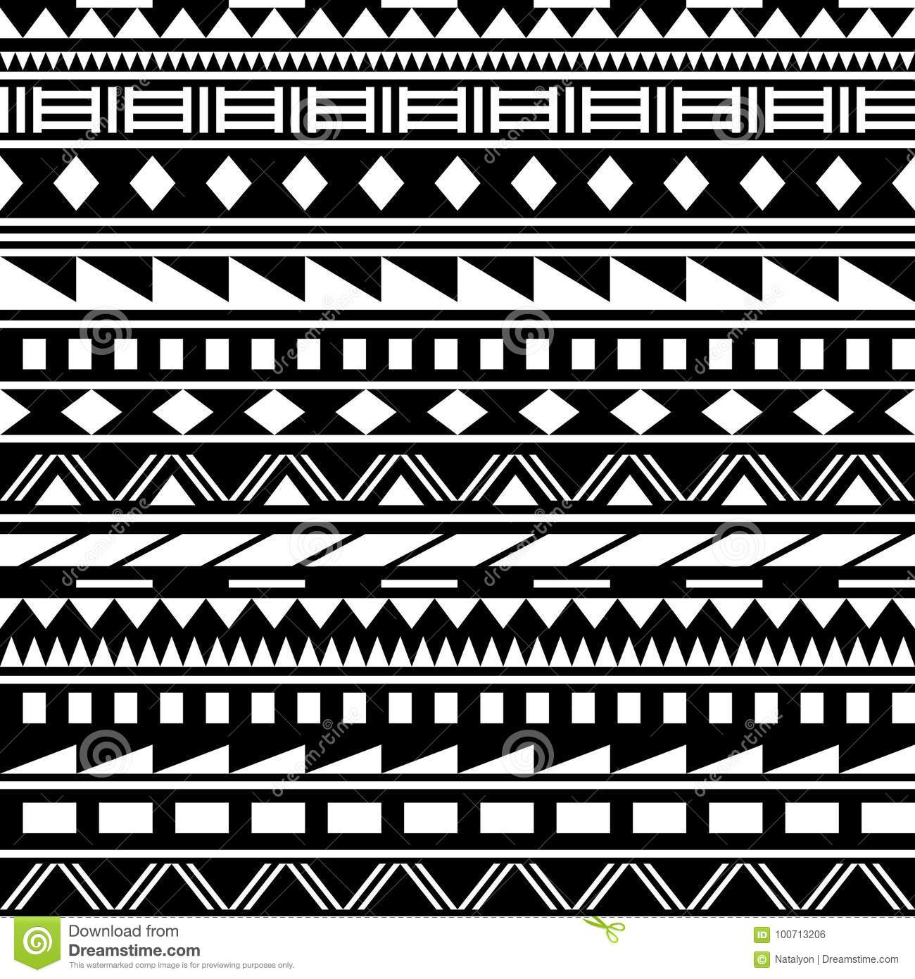 Black and white simple shapes ethnic african striped seamless pattern vector