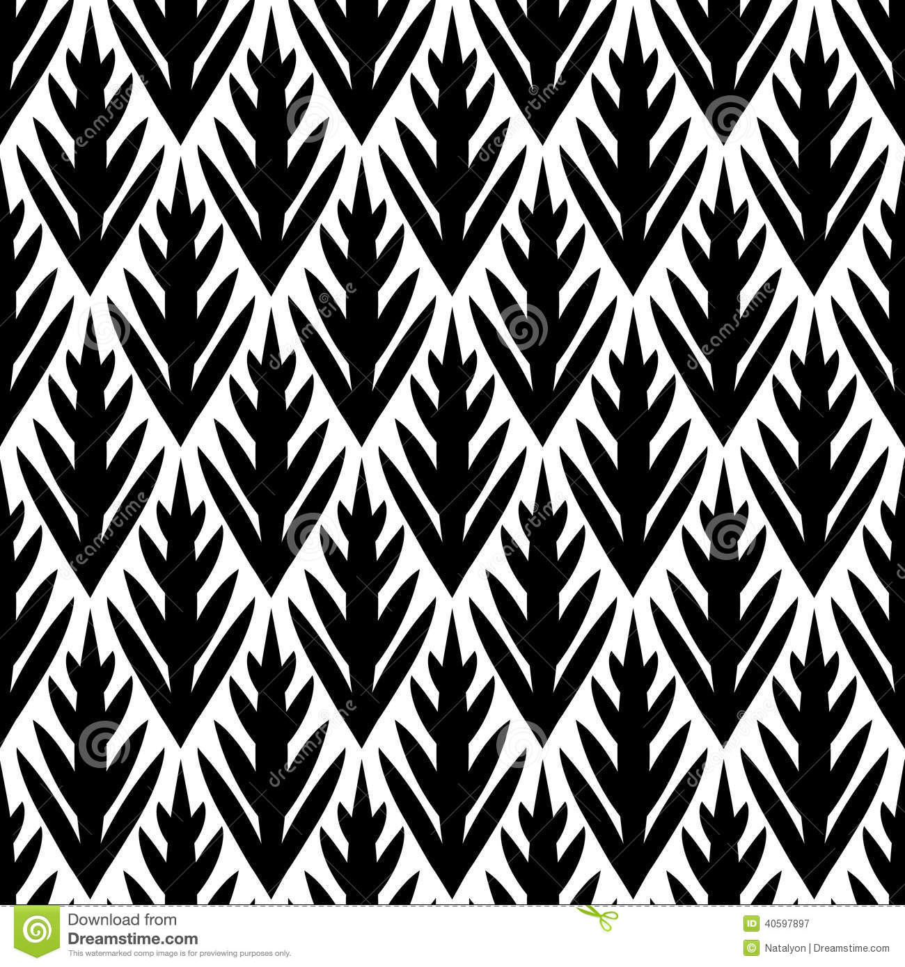 black and white simple trees geometric ikat seamless pattern