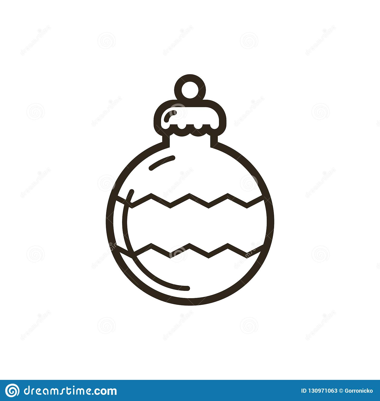 Vector Line Art Christmas Ornament Icon Stock Vector