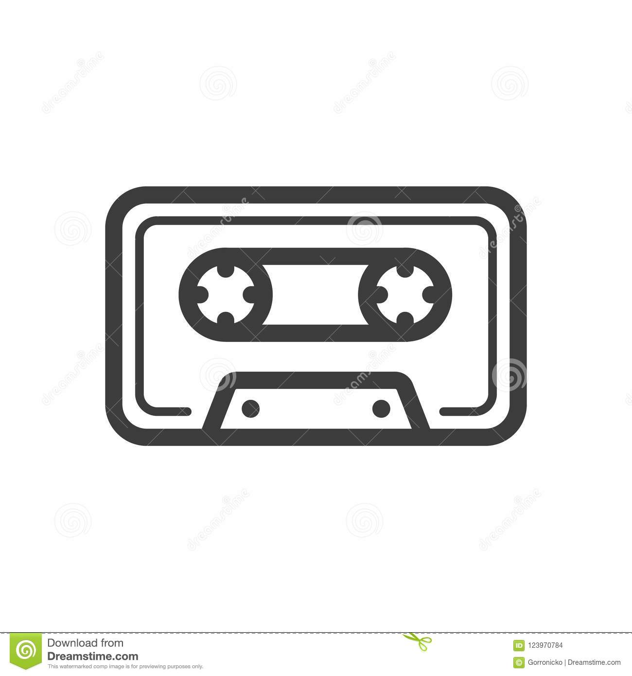 Simple Vector Line Art Icon Of Old School Music Cassette