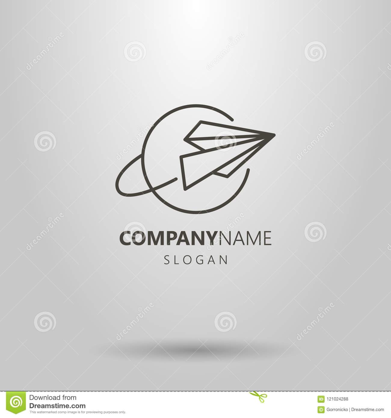Simple vector line art logo of paper airplane and planet