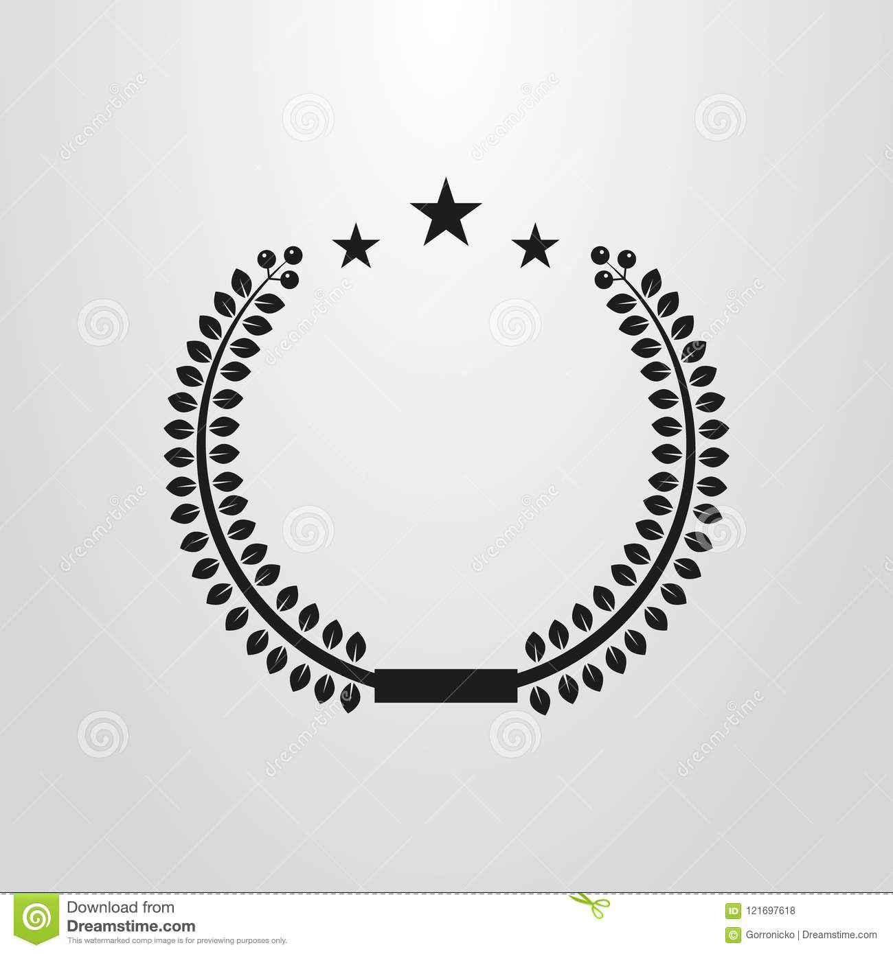 Simple Vector Round Frame Of Laurel With Stars Stock Illustration ...