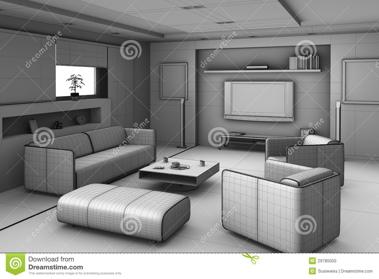 Luxury Minimalist Living Room Interior Stock Illustration