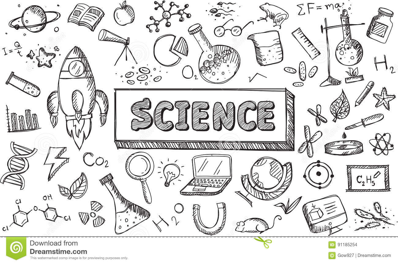 Black And White Sketch Science Chemistry Physics Biology