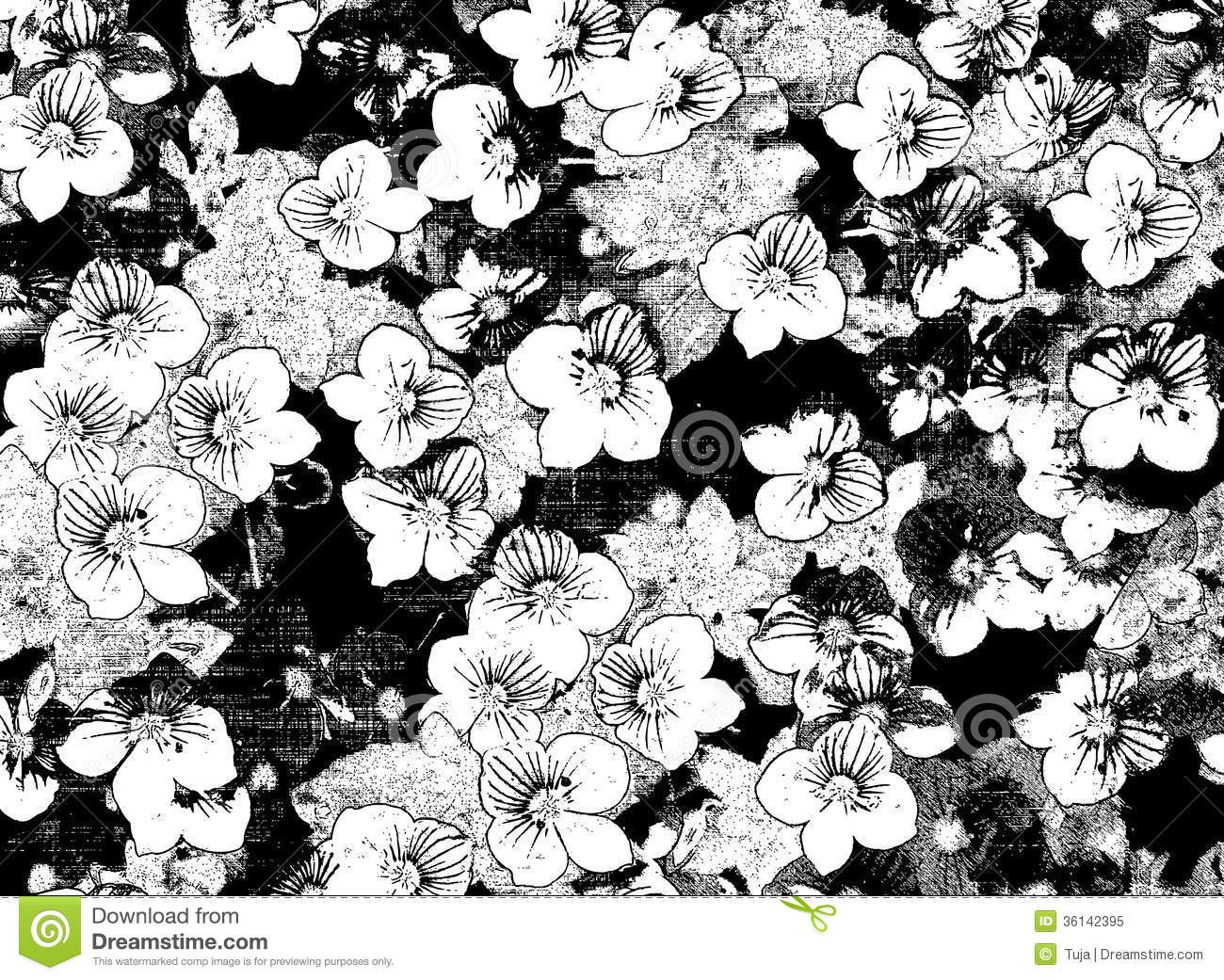Black And White Sketching Floral Background Stock Illustration