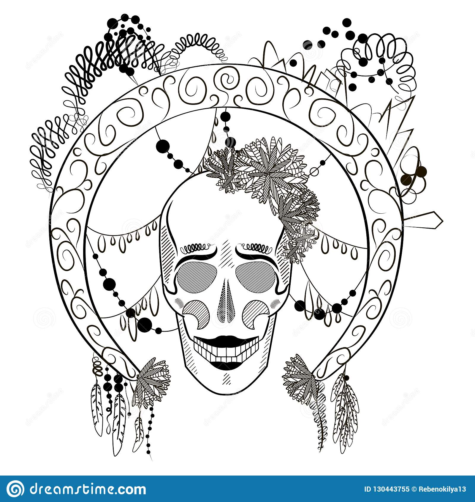 Black And White Skull With Decorated Round Frame. Stock Illustration ...